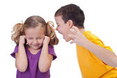 Quarreling kids - boy shouting to girl — Stock Photo