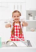 Glad liten flicka diska — Stockfoto