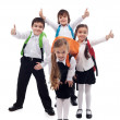 Stock Photo: Group of kids happy going back to school