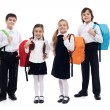 Children with backpacks - back to school theme — Zdjęcie stockowe #28923115