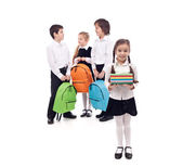 Kids returning to school with books and backpacks — Stock Photo