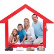 Stock Photo: Happy family in their home concept
