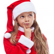 Thinking Santa - little girl in seasonal outfit — Stock Photo #33641801