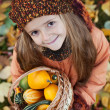 Little girl with autumn pumpkins in a basket — Stock Photo #34497719