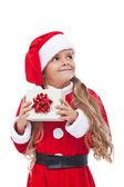 Menina feliz com o presente de natal — Foto Stock