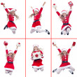 Happy girl with santa costume jumping — Foto Stock