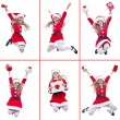 Happy girl with santa costume jumping — Photo