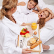 Helthy breakfast in bed for the kids — Stock Photo