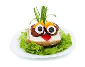 Meatball eyed onion haired creative sandwich — Stock Photo