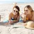 Stock Photo: Girls on beach