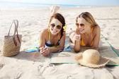 Girls on beach — Stock Photo