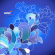 Abstract flowers on blue background. — Stock Vector