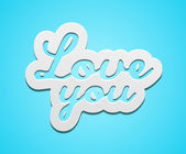 Simple love you text badge on blue background. — Stock Vector