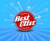 Best offer label with arrows on the background. — Stock Vector