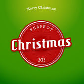 Red Christmas label on green background. — Stockvector