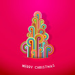 Christmas tree made from curled colorful lines. — Stock Vector