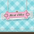 Pink Best Offer label on blue background. - Stock Vector