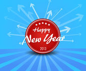 Red New year label on blue background arrows. — Stock Vector