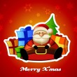 Sitting Santa with presents on red background. — Stockvector