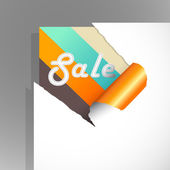 Teared paper with colored stripes and sale text. — Stockvector