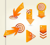 Set of orange labels for wide variety of use. — Stock Vector