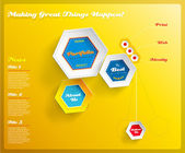 Web design template with hexagons on yellow background. Vector I — Stock Vector