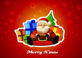 Sitting Santa with presents on red background. — 图库矢量图片