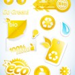 Set of yellow ecology icons. — Vektorgrafik