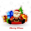 Sitting Santa with presents and Christmas tree behind him. — Imagen vectorial