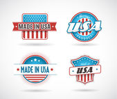 Set of four Made in USA labels. — Stock Vector