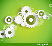 Set of cogwheels on green background and place for your text. — Stock Vector