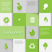Ecology icons on green tiled background. — Stock Vector