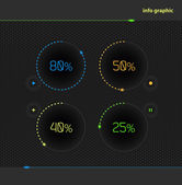 Vector circles with percentage for business presentations and re — Stock Vector