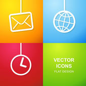 Set of 3 simple icons for web use. — Stock Vector