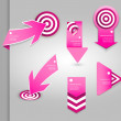 Set of pink labels for wide variety of use. — Stock Vector #48008549