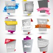 Set of grey paper labels with colored parts. — Stock Vector