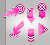 Set of pink labels for wide variety of use. — Stock Vector