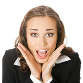 Happy surprised business woman, isolated — Stock Photo