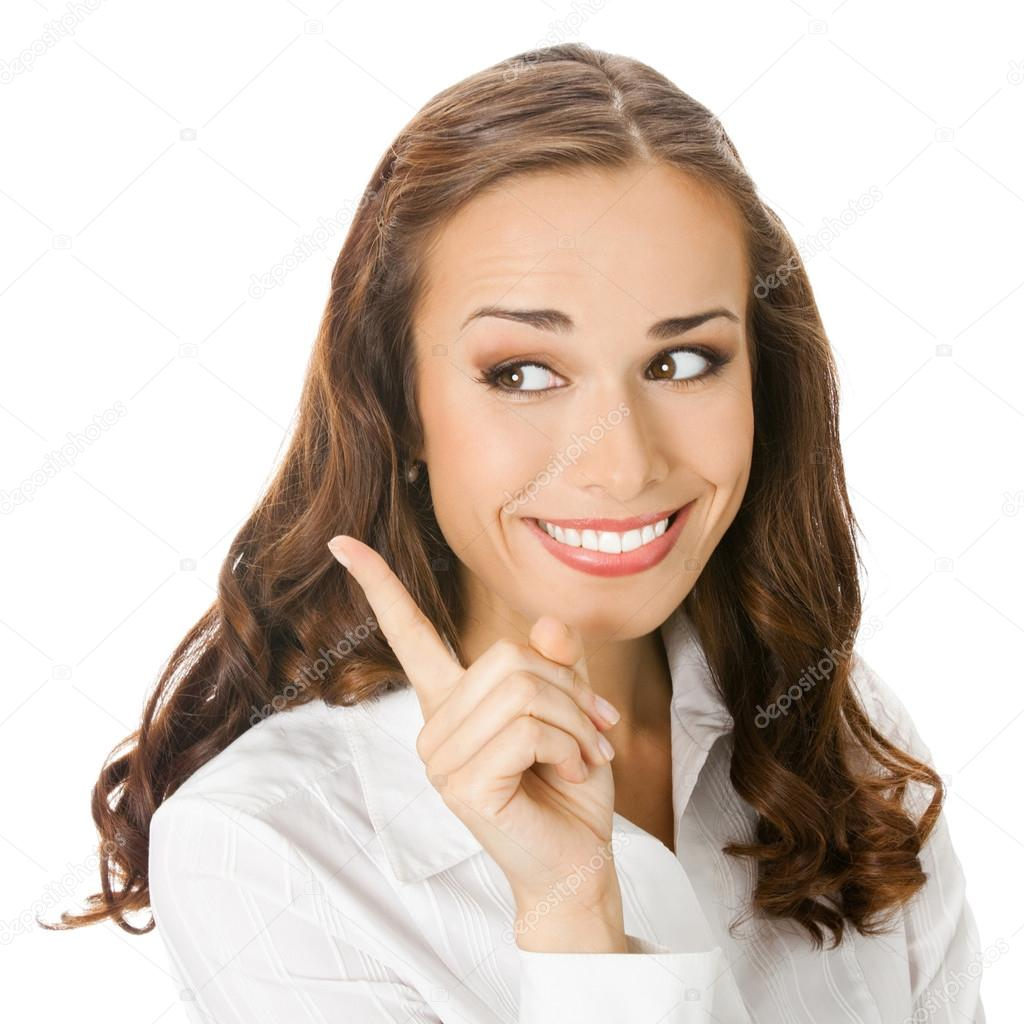 Happy smiling young business woman showing blank area for sign or copyspase, isolated on white background — Stock Photo #12280271