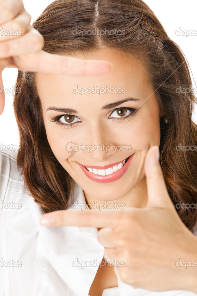 Portrait of young happy smiling business woman framing her face with hands, isolated over white background — Stock Photo #12280358