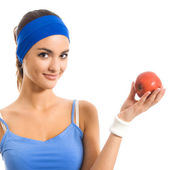 Young woman with apple, over white — Stock Photo