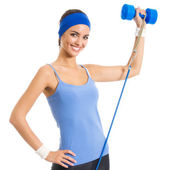 Woman exercising with dumbbell and growth, over white — Stock Photo