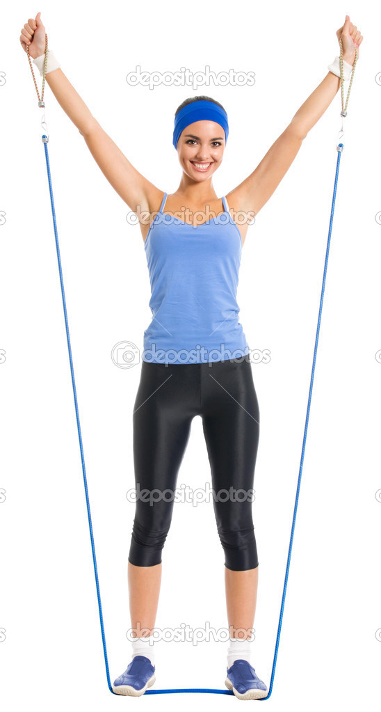 Full body of cheerful woman in fitness wear exercising with growth, isolated over white background  Stock Photo #12412244