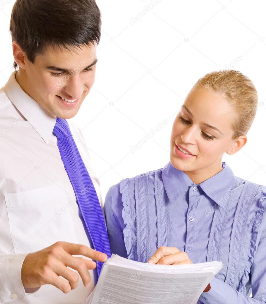 Two businesspeople, or businesswoman and client, with documents, isolated over white background — Stock Photo #12412560