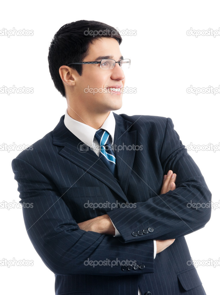 Portrait of happy smiling businessman, isolated over white background  Stock Photo #12412799