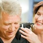 Portrait of senior cheerful couple embracing — Stock Photo