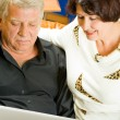 Cheerful senior couple working with laptop — Stock Photo