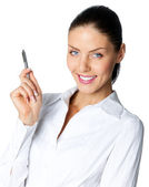 Cheerful businesswoman with pen, over white — Stock Photo
