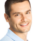 Cheerful young man, over white — Stock Photo