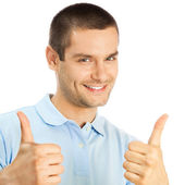 Cheerful man showing thumbs up, over white — Stock Photo